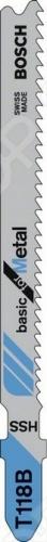 Набор пилок для лобзика Bosch T 118 B HSSПилки для лобзиков<br>Набор пилок Bosch T 118 B HSS предназначен для распиловочных работ по листовому металлу с помощью электрического лобзика. Для большей эффективности пилка имеет волнистые фрезерованные зубья с шагом 1,9-2,3 мм и Т-образный хвостовик. Общая длина составляет 92 мм. Полотно из качественной HSS-стали отлично справится с материалом толщиной от 2,5 до 6 мм.<br>
