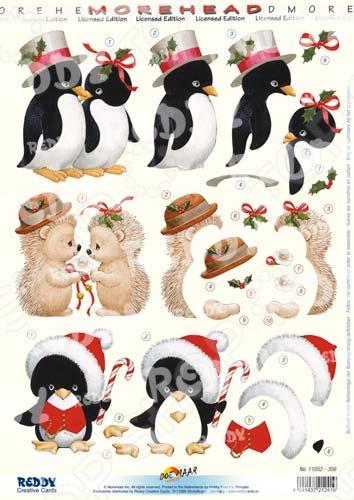 фото Аппликация бумажная вырубная Reddy Creative Cards «Новогодние пингвины и ежики», купить, цена