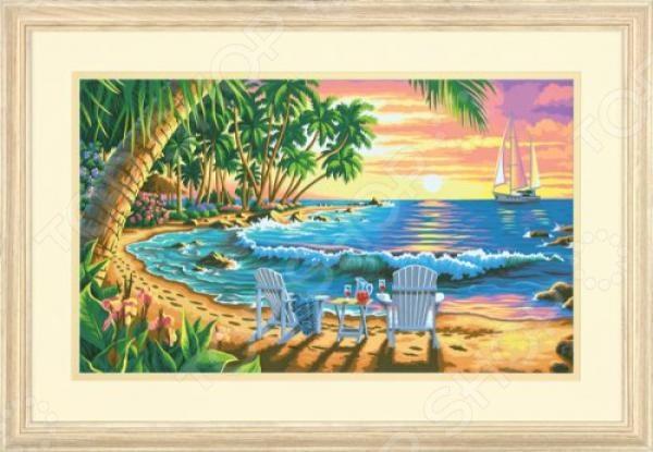 Набор для рисования по номерам Dimensions «Закат на пляже»Наборы для рисования по номерам<br>Набор для рисования по номерам Dimensions Закат на пляже подарит возможность любому человеку без художественного образования почувствовать себя профессиональным живописцем! Рисование по номерам это новый вид увлекательного изобразительного хобби. Нанеся краски на холст с готовым контуром рисунка и номерами необходимой краски, ориентируясь на контрольный лист, вы сможете создать настоящий шедевр своими руками. Набор будет одинаково интересен и детям, и взрослым. Вы можете преподнести его в качестве подарка или использовать, чтобы украсить стены своей комнаты или гостиной. Содержит качественные акриловые краски, фактурный картон с нанесенным контуром рисунка, кисть, доступную инструкцию. Если Вы предпочитаете работать с кистями разного размера, рекомендуем кисть для деталей 4, 6 и 8. Размер холста: 41х51 см. Использованная в данном наборе краска на основе акриловой кислоты очень популярна, универсальна и удобна в обращении. Она быстро высыхает, не выгорает на солнце и не тускнеет со временем. После высыхания такая краска образует эластичную пленку, которая не крошится, не отслаивается и не трескается. Высохшая акриловая краска устойчива к перепадам температур и изменению влажности.<br>