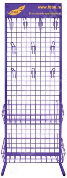 Стенд выставочный Фэйт 69501Прочие аксессуары и комплектующие для ремонта и строительства<br>Стенд выставочный Фэйт 69501 прекрасно подойдет для организации пространства на строительной площадке, а также компактного и наглядного размещения товаров. Модель изготовлена из высококачественных ударопрочных материалов и снабжена 14 крючками и двумя вместительными полками.<br>