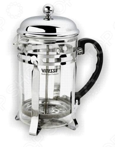 Для любителей кофе пригодится френч-пресс Vitesse. Выполненный в изящном дизайне с зеркальной полировкой, она отлично будет смотреться на столе. Имеется ручка из бакелита, а также фильтр и крышка из нержавеющей стали. Колба сделана из термостойкого стекла. В комплекте идет ложка.