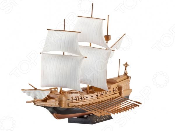Сборная модель корабля Revell «Spanish Galleon»Водный транспорт<br>Сборная модель Spanish Galleon представляет собой точную копию настоящего корабля. Состоит из 19 деталей, которые юный механик должен собрать сам. Во время игры с таким судном у ребенка развивается мелкая моторика рук, фантазия и воображение. Парусный двухпалубный галеон выпущен известной компанией по производству игрушек Revell. Изготовлен из пластика и обладает потрясающей детализацией. Сборная модель Spanish Galleon является отличным подарком не только ребенку, но и коллекционеру. В комплект входят клей, кисточка и краски.<br>