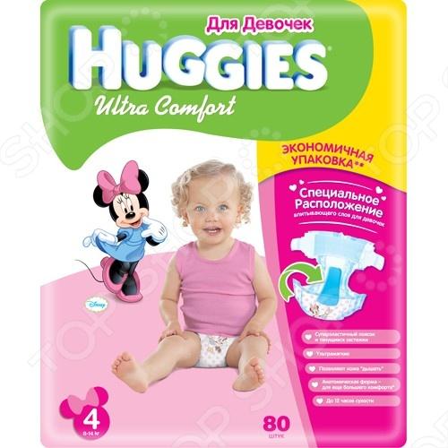 Подгузники HUGGIES Ultra Comfort Giga Pack для девочек 8-14 кг. 80 шт. Размер 4 5029053543680