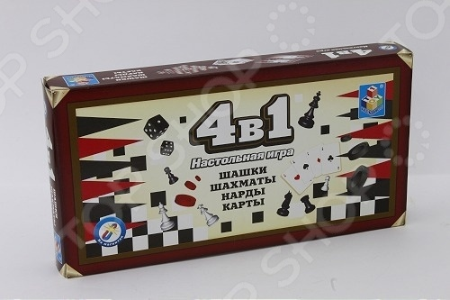 Игра настольная 4 в 1 1 Toy «Шашки/шахматы/нарды/карты»
