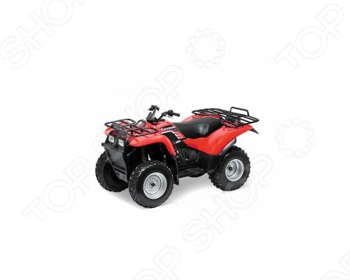 Модель квадроцикла 1:19 Welly Kawasaki. В ассортиментеМодели авто<br>Модель квадроцикла 1:19 Welly Kawasaki представляет собой коллекционную модель, являющуюся точной копией настоящего квадроцикла. Большая достоверность и похожесть настоящего транспортного средства обеспечивается наличием всех деталей, которые есть в реальной жизни: выхлопной трубой, фарами. Она будет прекрасным подарком для вашего малыша, так как это не только игрушка, но и полезная вещь, во время игры с которой у ребенка развивается мелкая моторика рук, воображение и фантазия.<br>