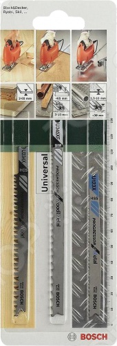 Набор пильных полотен Bosch SET U PROGRESSORНожовочные полотна<br>Полотно пильное Bosch SET U PROGRESSOR предназначено для распиловочных работ по металлу, дереву и древесным материалам при помощи электрического лобзика. Для большей эффективности имеет разведенные фрезерованные зубья и U-образный хвостовик. Полотно из HSS-стали идеально для резки толстого листового металла толщиной до 10 мм, а труб и профиля до 30 мм. Полотно из высокоуглеродистой стали справится с древесиной толщиной до 65 мм. Универсальное биметаллическое полотно разрежет металлические листы, профили и трубы толщиной до 10 мм и древесные материалы до 65 мм.<br>