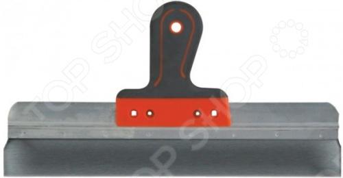 Шпатель фасадный с прорезиненной ручкой используется для нанесения и равномерного распределения строительных смесей на различных поверхностях. Подходит как для внутренней, так и для наружной отделки. Инструмент состоит из рифленой отогнутой рукоятки и стального рабочего полотна. Шпатель отличается повышенным рабочим ресурсом, его ручка выполнена из ударопрочной прорезиненной пластмассы, а лезвие - из нержавейки.