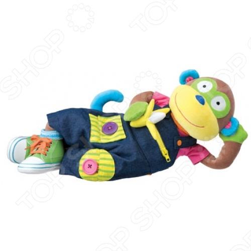 Мягкая игрушка развивающая ALEX «Учимся одеваться с обезьянкой» Игрушка мягкая развивающая Alex «Учимся одеваться с обезьянкой» /
