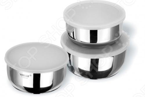 Чаши для смешивания Vitesse Adotte оснащены пластиковыми крышками, выполнены в современном дизайне из нержавеющей стали маркировки 18 10 и отполированы до блеска. Чаши легко мыть в посудомоечной машине. Набор включает в себя три чаши:  Объемом 1 литр диаметр 14 см  Объемом 1,5 литра диаметр 16 см  Объемом 2,2 литра диаметр 18 см