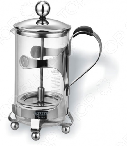 Френч-пресс Vitesse Margeret VS-1801Френч-прессы<br>Френч-пресс Vitesse Margeret VS-1801 изготовлен из высококачественной пищевой нержавеющей стали 18 10, а колба из жароупорного стекла. Предназначен для заваривания чая и кофе. Матированная поверхность стальной части изделия позволяет долго сохранять безупречный вид, а жароупорное стекло может выдержать температуру до 180 С. Конструкция носика идеальна для наливания. Цельная ручка удобна при использовании.<br>