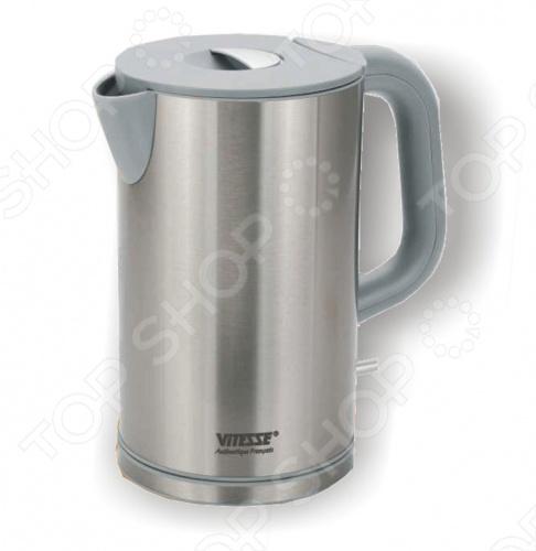 Чайник Vitesse VS-107Чайники электрические<br>Электрический чайник Vitesse VS-107 имеет необычную овальную форму и будет отлично смотреться на любой современной кухне. Корпус сделан из нержавеющей стали. Есть автоотключение при вскипании или недостаточном количестве воды. В качестве нагревательного элемента используется закрытая спираль.<br>