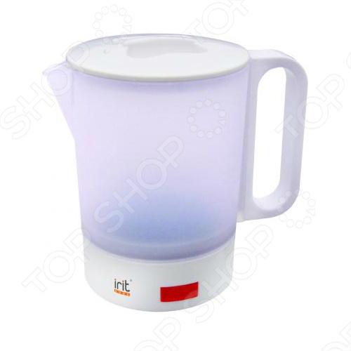 Чайник дорожный Irit IR-1601Чайники электрические<br>Чайник дорожный Irit IR-1601 объемом 0,5 л и мощностью 350 Вт позволит вам выпить чашечку чая в любом удобном для вас месте. Корпус чайника выполнен из термостойкого пластика. Нагревательный элемент чайника изготовлен из нержавеющей стали. Чайник оснащен защитой от перегревания и кипячения без воды.<br>