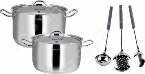 Набор кастрюль и кухонных принадлежностей Vitesse VS-2013Наборы посуды для готовки<br>Набор кастрюль и кухонных принадлежностей Vitesse VS-2013 состоит из двух больших объемных кастрюль и кухонных принадлежностей. Посуда из нержавеющей стали - это хит продаж не только на российском рынке, но и за рубежом. Посуда из нержавеющей стали практически всегда адаптирована к различным типам плит, устойчива к коррозии и гигиенична.<br>