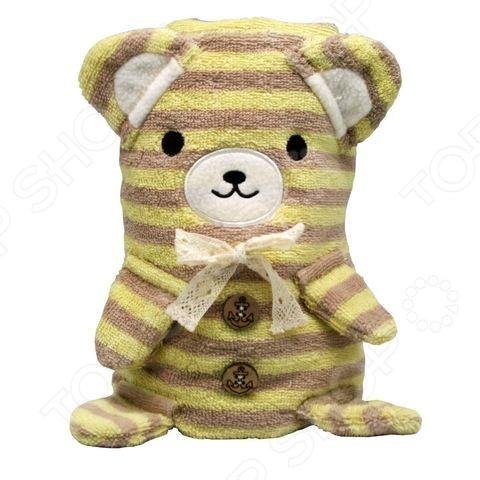 Полотенце-игрушка Coool Toys «Медвежонок»Полотенца. Салфетки для купания<br>Полотенце-игрушка Coool Toys Медвежонок очень мягкое и приятное на ощупь, выполнено из натуральной хлопковой махры. Оно хорошо впитывает влагу и оказывает легкое массажное воздействие на тело, не вызывая раздражения кожи. Если полотенце сложить, то оно превратится в милого полосатого медвежонка с кокетливым бантиком на шее. Изделие не линяет и не теряет форму во время стирки.<br>