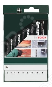 Набор сверл по металлу, камню и дереву Bosch HSS-R набор сверл по металлу bosch standard hss co din 338 5 шт