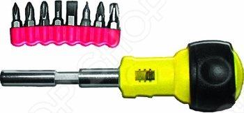 Отвертка реверсивная с набором насадок FIT удобна при работе в труднодоступных местах и ограниченном пространстве. Материал: инструментальная сталь, пластиковая ручка.