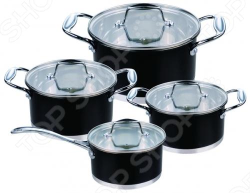 Набор кухонной посуды Rainstahl RS-1084Наборы посуды для готовки<br>Удовольствие в процессе готовки зависит от многих факторов: настроение, желание удивить семью фирменным блюдом или попробовать новый рецепт. Однако без хорошей посуды приготовление пищи может превратиться в настоящий кошмар, а любимое блюдо и вовсе не получиться. С набором от Rainstahl такая ситуация вам не грозит.  Набор кухонной посуды Rainstahl RS-1084 содержит ковш и три вместительные кастрюли с крышками. И готовить в них одно удовольствие. Главный секрет изделий заключается в многослойном капсульном дне с алюминиевым основанием, получившим название Impact Bonding . Такая хитрая конструкция дает следующие преимущества:  Обеспечивается быстрый и равномерный нагрев, при этом тепло ингредиентам внутри посуды также передается равномерно.  Можно готовить с минимальным количеством масла или жира, что положительно сказывается на вкусовых качествах продуктов.  Дно надежное и прочное. Кроме того, его многослойность способствует эффекту удержания тепла: блюдо продолжает готовиться некоторое время после отключения плиты.  Посуда сделана из пищевой нержавеющей стали марки 18 10 и соответствует современным стандартам качества. Снаружи элементы набора украшены декоративным цветным покрытием. В результате кастрюли и ковш смотрятся очень эффектно и способны украсить кухню любого дизайна, будь то классика или хай-тек. Внутренняя поверхность ровная и гладкая, что обеспечивает простоту очистки после использования. Кстати, допускается мытье в посудомоечной машине.  Крышки сделаны из прозрачного жаропрочного стекла, позволяющего наблюдать за процессом приготовления продуктов. Предусмотрен клапан для выхода пара. Набор посуды включает:  малая кастрюля на 2,4 литра;  средняя кастрюля на 3,7 литра;  большая кастрюля на 4,9 литра;  ковш на 1,7 литра;  4 крышки. Кастрюли с многослойным дном Impact Bonding подходят для большинства типов современных плит: электрические, стеклокерамические, газовые.<br>