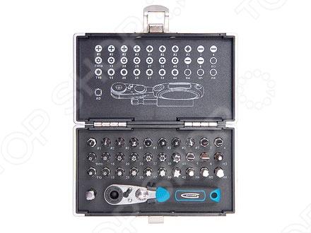Набор бит с магнитным адаптером GROSS в кейсеОтвертки со сменными битами<br>Набор бит с магнитным адаптером GROSS в кейсе состоит из 33 предметов и включает в себя биты и магнитный адаптер. Принадлежности изготовлены из высококачественной стали S2 твердостью 54-56 HRc, что обеспечивает их прочность и износостойкость. Используются для монтажа демонтажа разного вида крепежа при слесарно-монтажных работах. Набор поставляется в оригинальном кейсе из противоударного пластика с металлическими застежками, что гарантирует бережное хранение предметов.<br>