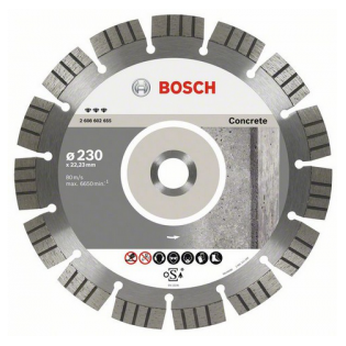 Купить Диск отрезной алмазный для угловых шлифмашин Bosch Best for Concrete 2608602654
