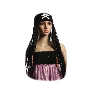 Купить Косынка пиратская женская Шампания с волосами и бусинками