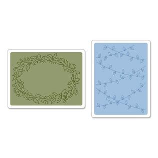 Купить Набор форм для эмбоссирования Sizzix Textured Impressions Рождественские огни и остролист