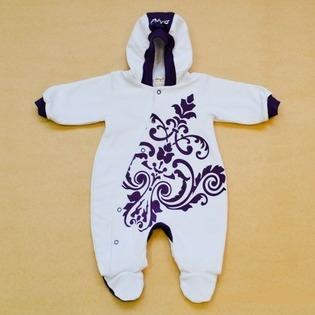 Купить Комбинезон для новорожденных с капюшоном на подкладке Ёмаё. Цвет: белый