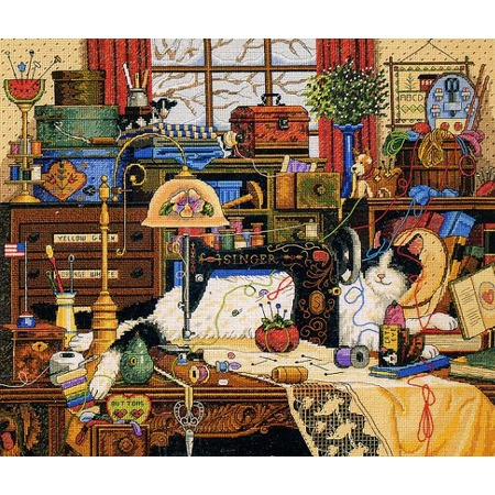Купить Канва для вышивания Dimensions «Кот в швейной комнате»