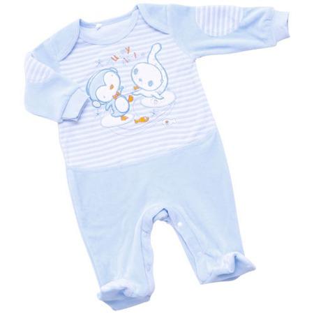 Купить Комбинезон IDEA KIDS «Весёлые полосатики» с вышивкой. Цвет: голубой