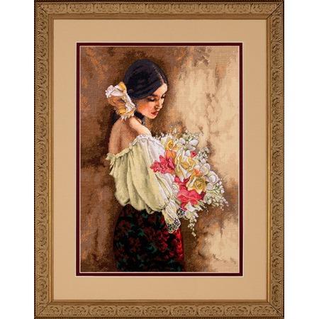 Купить Канва для вышивания Dimensions «Девушка с букетом»