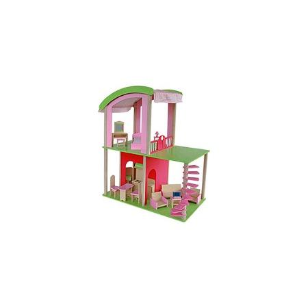 Купить Домик двухэтажный открытый с куклами и мебелью