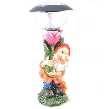 Купить Фонарь декоративный Valencia «Гном с розой»