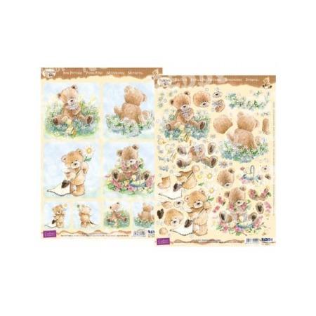 Купить Аппликация вырубная и фон для рисунков Reddy Creative Cards «Медведи Popcorn - Цветы 2»
