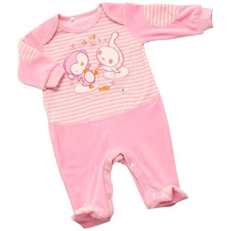 Купить Комбинезон IDEA KIDS «Весёлые полосатики» с вышивкой. Цвет: розовый
