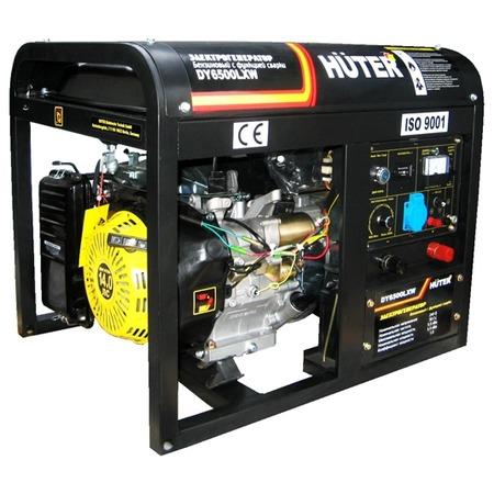 Купить Электрогенератор с функцией сварки и с колесами Huter DY6500LXW