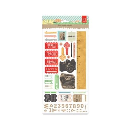 Купить Набор наклеек картонных чипборд Basic Grey BG-BBZ3951
