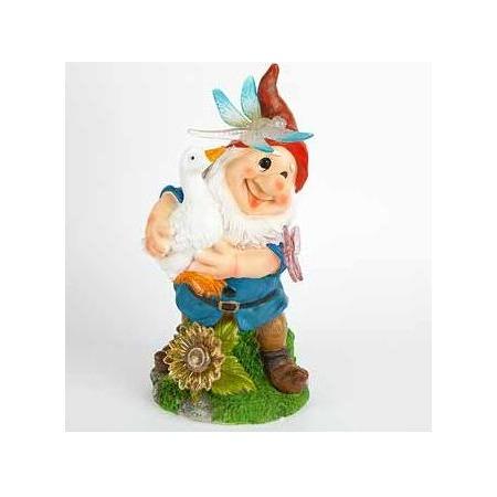 Купить Фонарь декоративный Valencia «Гном с белым гусем»