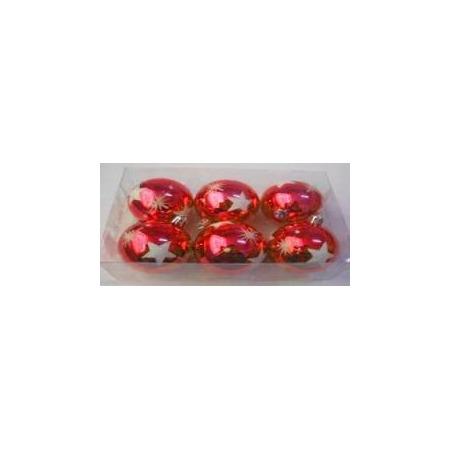 Купить Шары новогодние Irit «Красные звезды» глянец