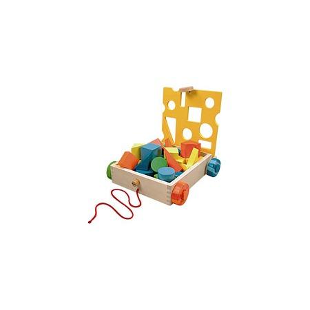 Купить Кубики деревянные РАДУГА, на тележке