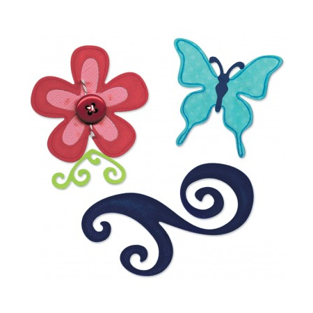 Купить Набор форм для вырубки Sizzix Sizzlits Бабочка, цветок, завиток