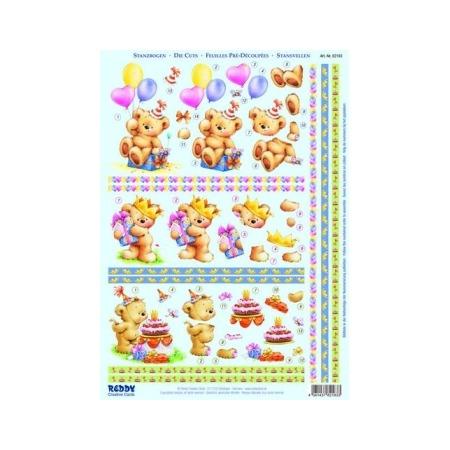 Купить Аппликация бумажная вырубная Reddy Creative Cards «Медвежонок, день рождения»