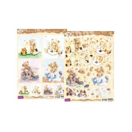 Купить Аппликация вырубная и фон для рисунков Reddy Creative Cards «Медведи Popcorn - Детки 2»
