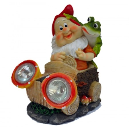 Купить Фонарь декоративный на солнечной батарее Valenсia «Гном и лягушка»