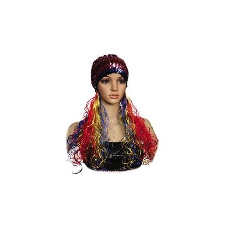 Купить Шапка женская Шампания с разноцветными волосами
