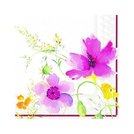 Купить Салфетки бумажные для декупажа IHR «Акварельные цветы». Цвет: лиловый