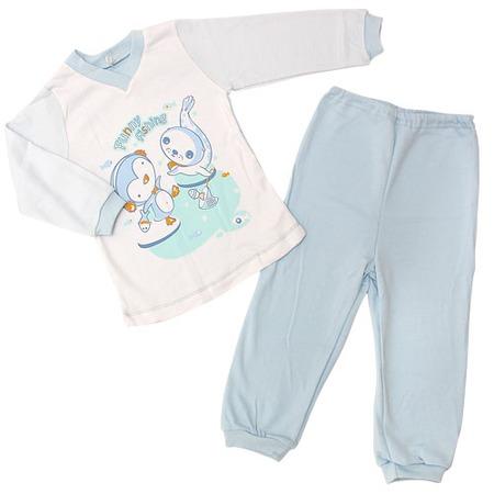 Купить Пижама IDEA KIDS «Весёлые полосатики» с V-образным вырезом. Цвет: голубой