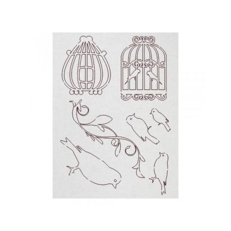 Купить Чипборд Ars Hobby «Клетки, птички, орнамент»