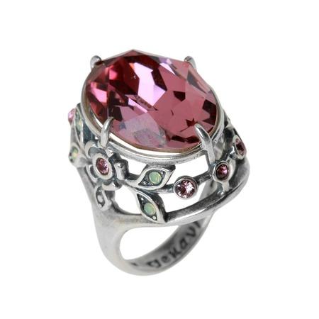 Купить Кольцо Jenavi Эльвен. Вставка: Swarovski розовые и зеленые кристаллы