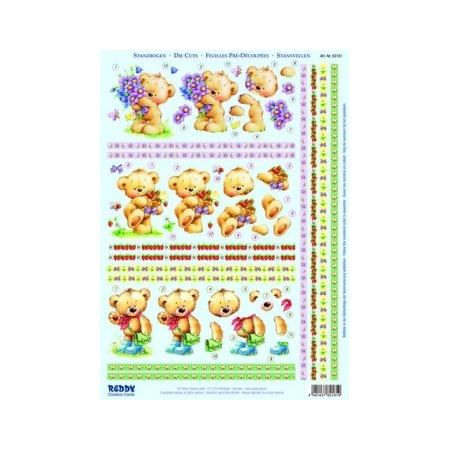 Купить Аппликация бумажная вырубная Reddy Creative Cards «Медвежонок с цветами»