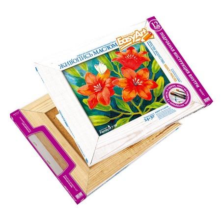 Купить Набор для живописи масляными красками EasyArt Холст «Лилии»