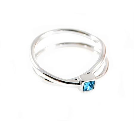 Купить Кольцо Jenavi Эврика. Вставка: Swarovski голубой кристалл